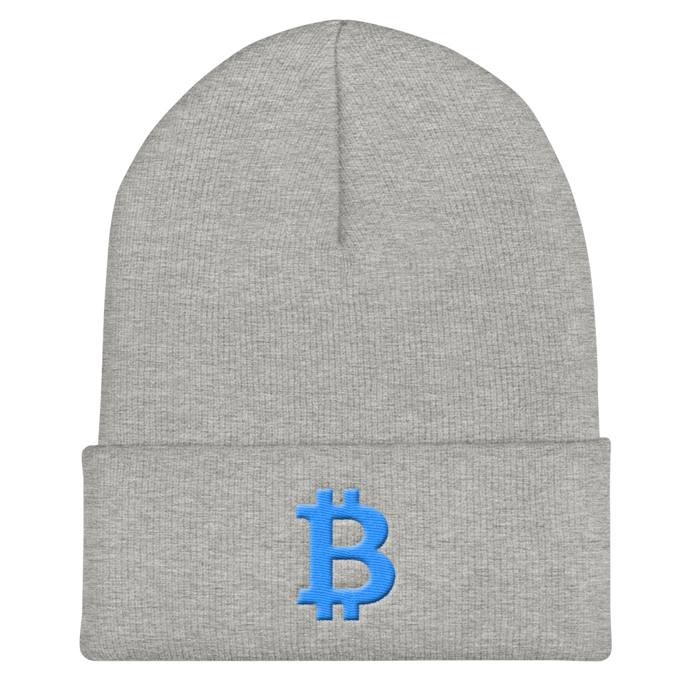 Bitcoin B Cuffed Beanie Teal Heather Grey  - zeroconfs
