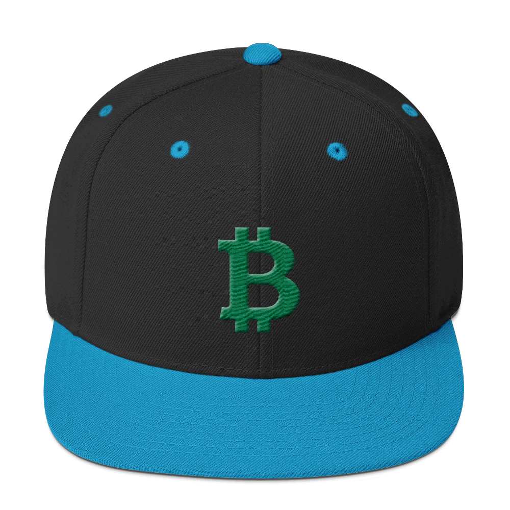 Bitcoin B Snapback Hat Green Black/ Teal  - zeroconfs