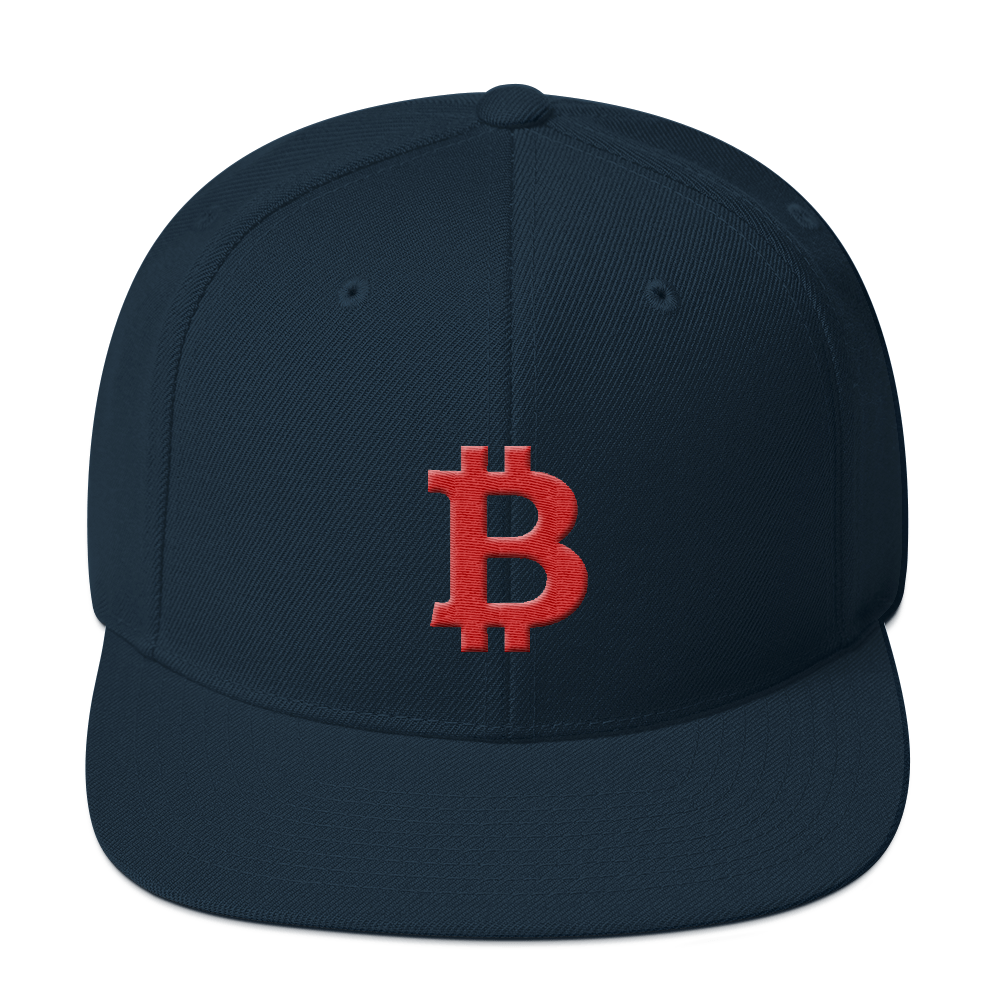 Bitcoin B Snapback Hat Red Dark Navy  - zeroconfs