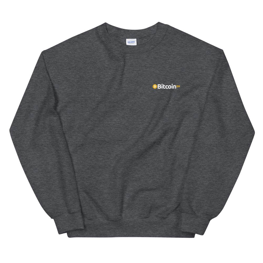 Bitcoin SV Woken Dragon Sweatshirt Back Dark Heather S - zeroconfs