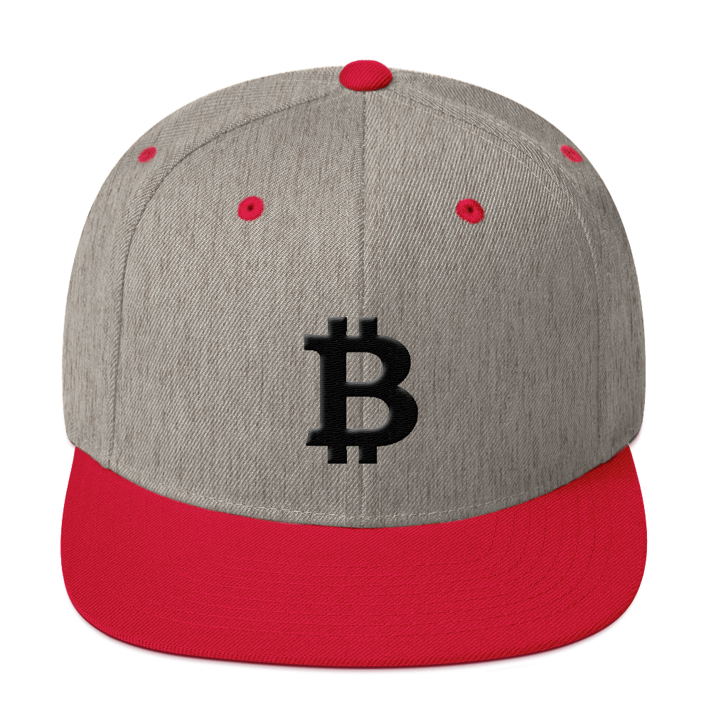 Bitcoin Blacknet SE Snapback Hat Heather Grey/ Red  - zeroconfs