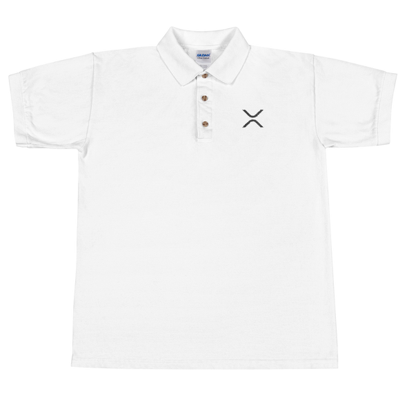 Ripple Embroidered Polo Shirt White S - zeroconfs