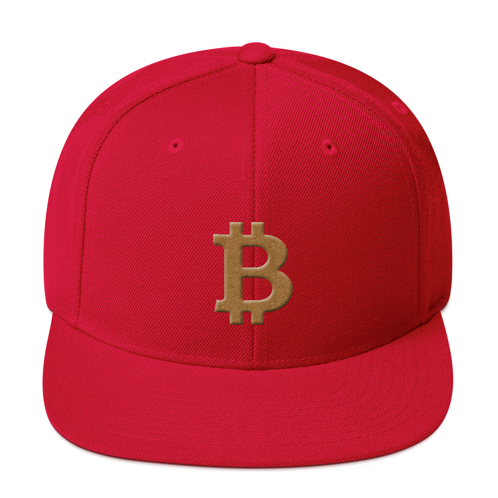 Bitcoin B Snapback Hat Gold Red  - zeroconfs