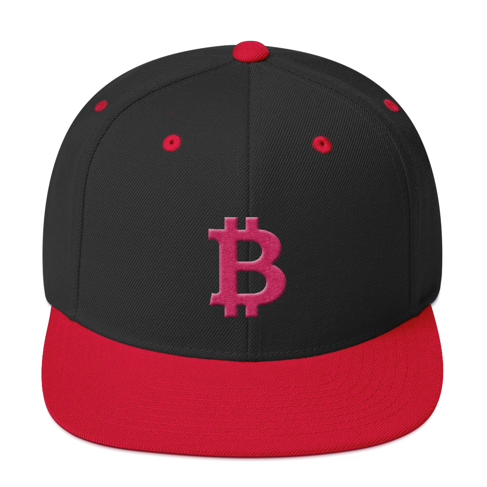 Bitcoin B Snapback Hat Pink Black/ Red  - zeroconfs
