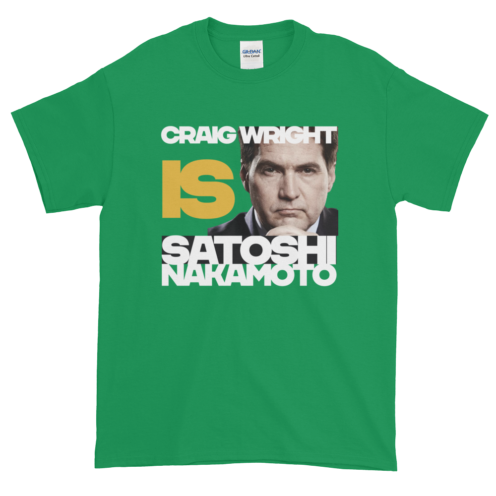Craig Is Satoshi Short-Sleeve T-Shirt Plus Size Irish Green XL - zeroconfs