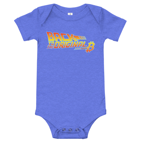 Back To The Original Bitcoin Protocol Baby Bodysuit Heather Columbia Blue 3-6m - zeroconfs