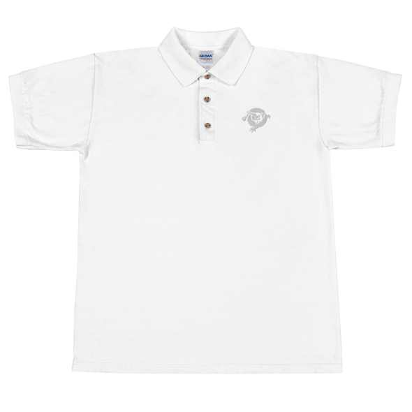 Bitcoin SV Dragon Embroidered Polo Shirt White White S - zeroconfs