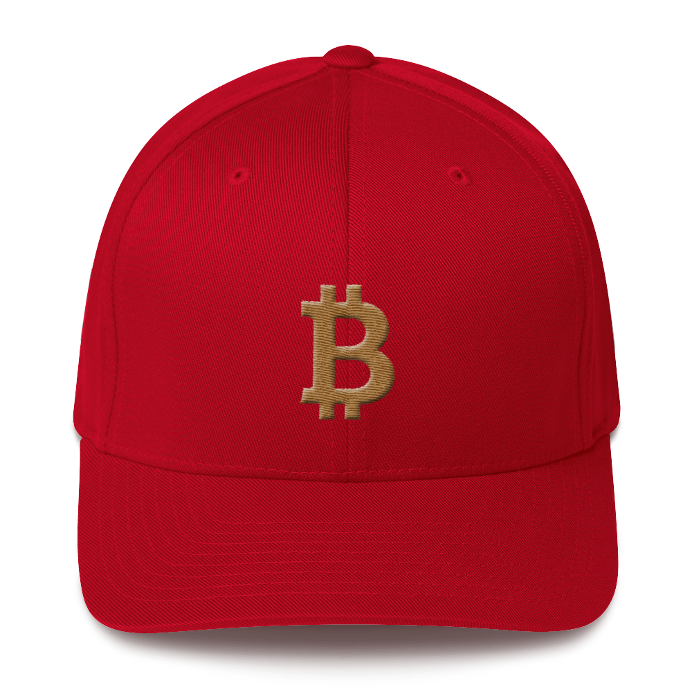 Bitcoin B Flexfit Cap Gold Red S/M - zeroconfs
