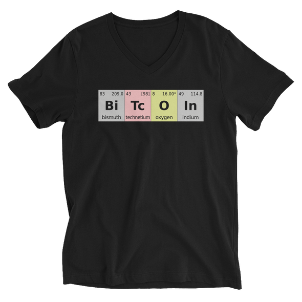 Bitcoin Periodic Table V-Neck T-Shirt Black S - zeroconfs