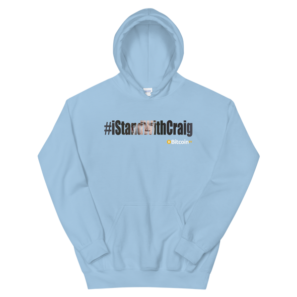 #IStandWithCraig Bitcoin SV Hooded Sweatshirt Light Blue S - zeroconfs