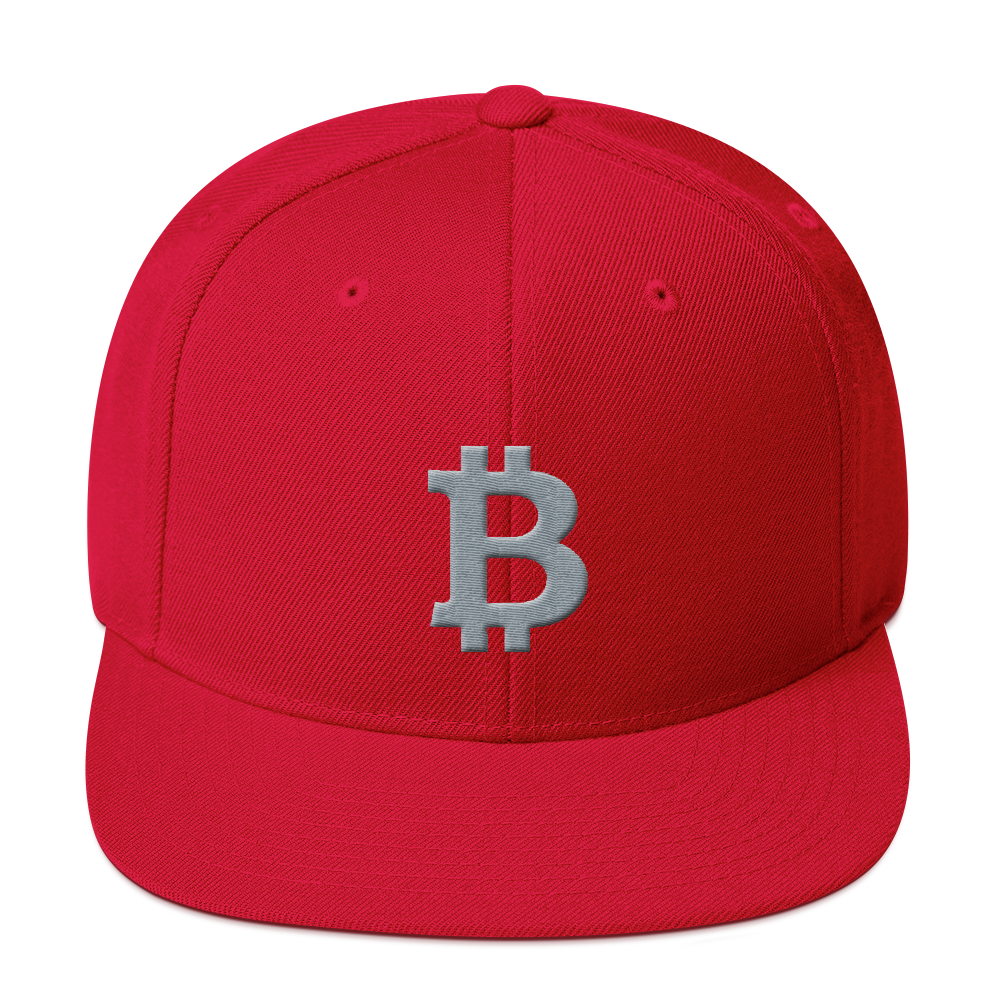 Bitcoin B Snapback Hat Gray Red  - zeroconfs