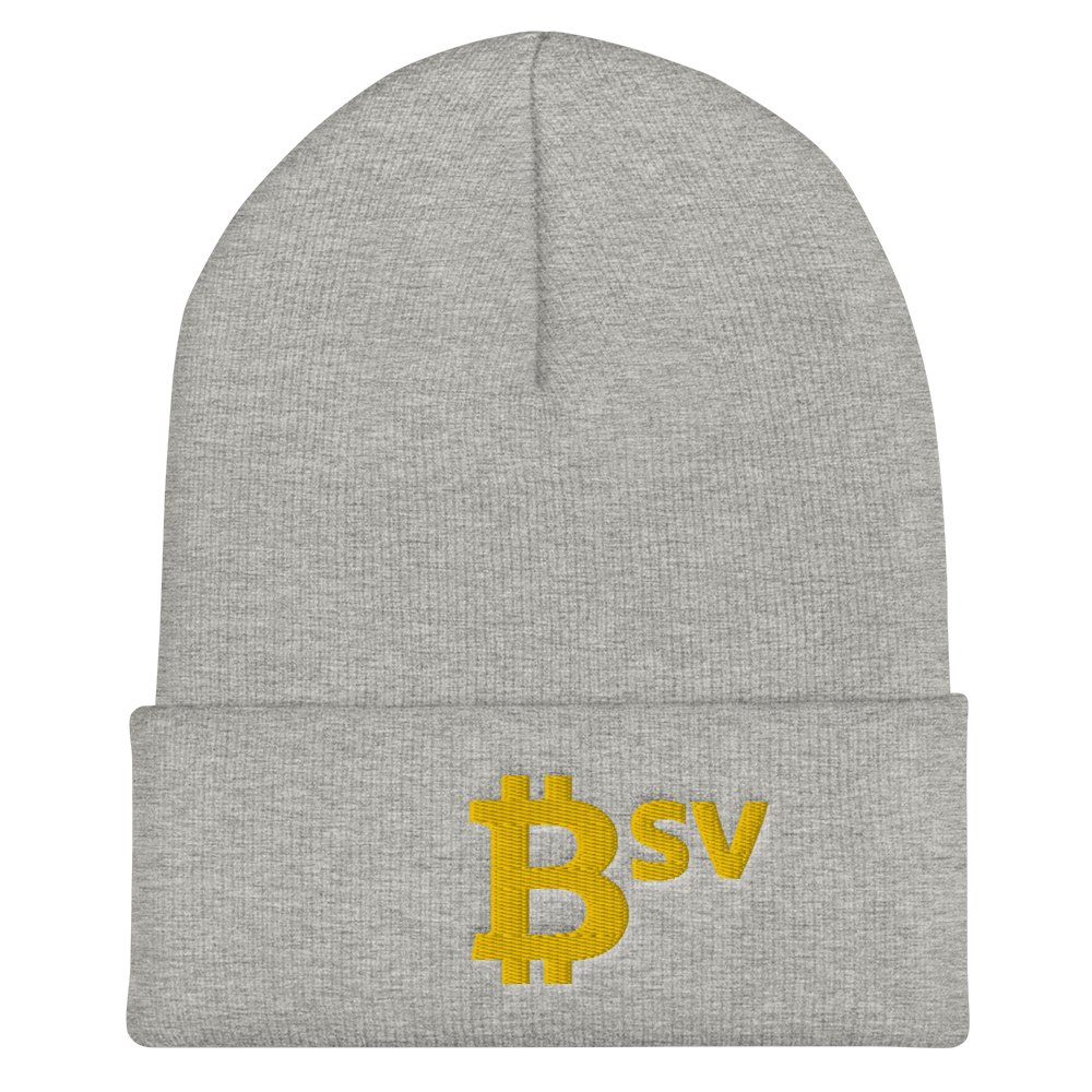Bitcoin SV BSV Cuffed Beanie Heather Grey  - zeroconfs