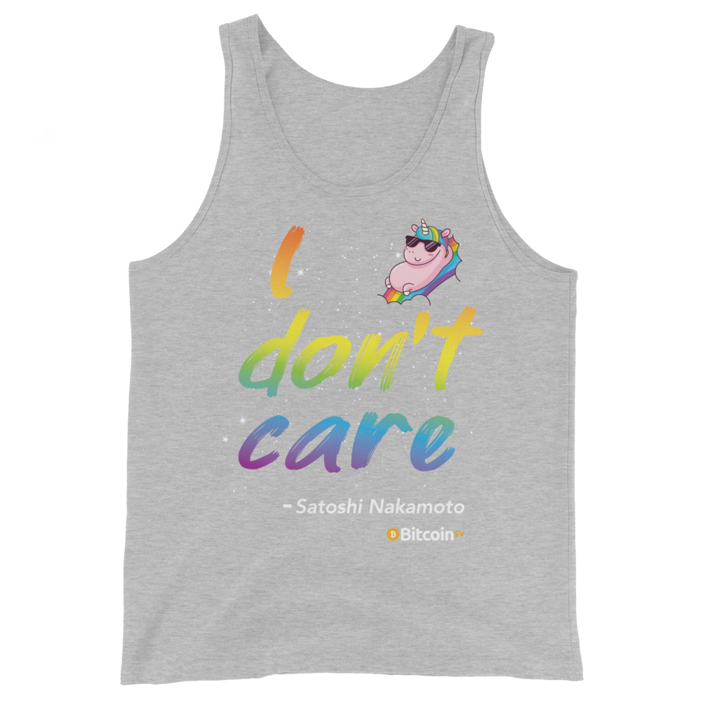 I Don't Care Bitcoin SV Tank Top Athletic Heather XS - zeroconfs