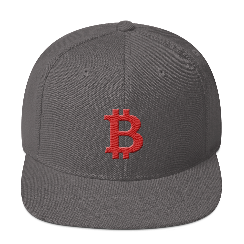 Bitcoin B Snapback Hat Red Dark Grey  - zeroconfs