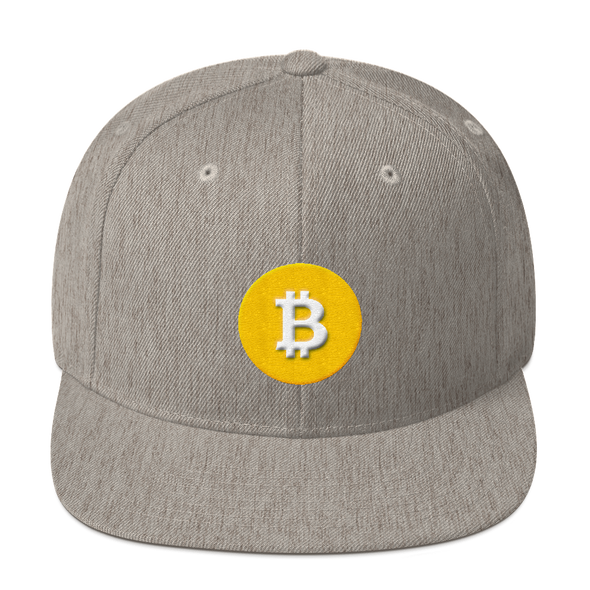 Bitcoin SV Logo Snapback Hat Heather Grey  - zeroconfs