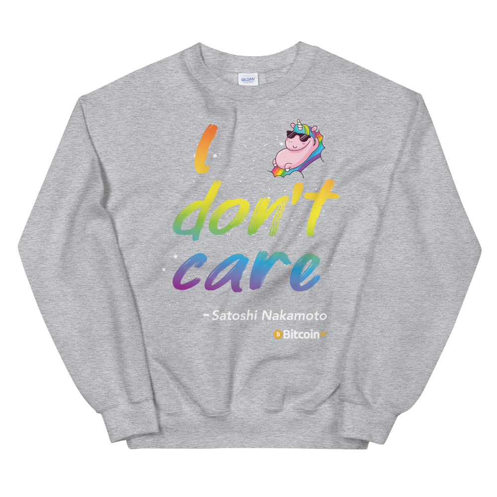 I Don't Care Bitcoin SV Sweatshirt Sport Grey S - zeroconfs