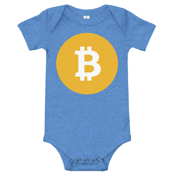 Bitcoin SV Logo Baby Bodysuit Heather Columbia Blue 3-6m - zeroconfs