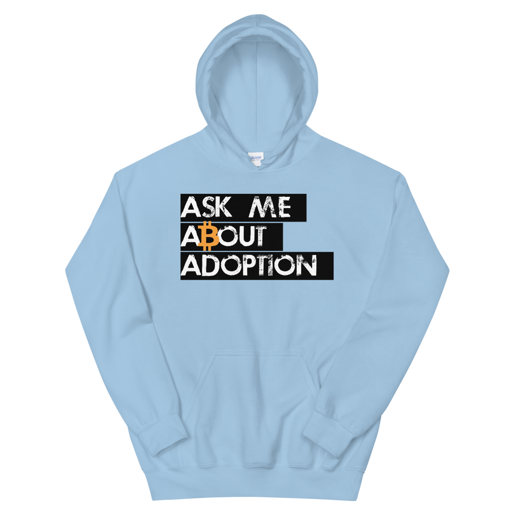 Ask Me About Adoption Bitcoin Hooded Sweatshirt Light Blue S - zeroconfs