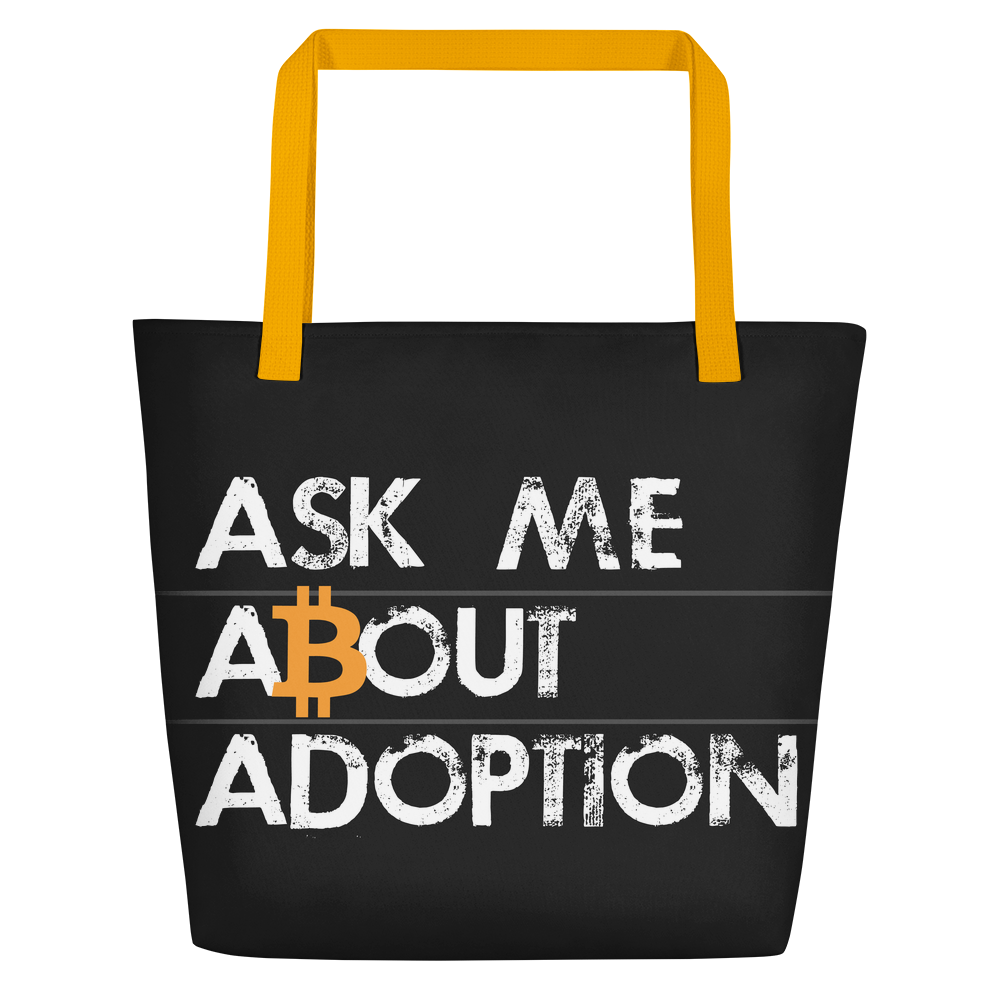 Ask Me About Adoption Bitcoin Beach Bag Yellow  - zeroconfs
