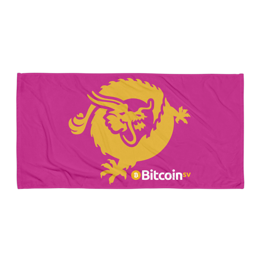 Bitcoin SV Dragon Beach Towel Pink Default Title  - zeroconfs