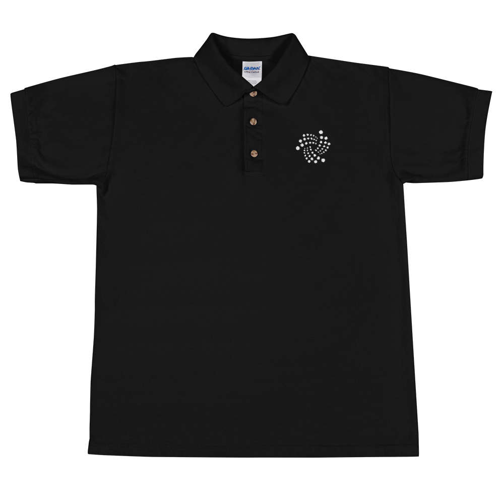 IOTA Embroidered Polo Shirt Black S - zeroconfs