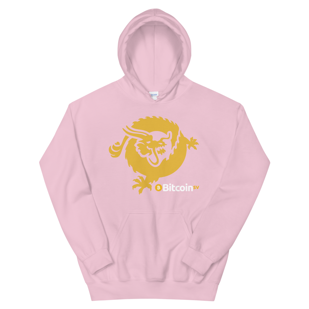 Bitcoin SV Dragon Hooded Sweatshirt Light Pink S - zeroconfs