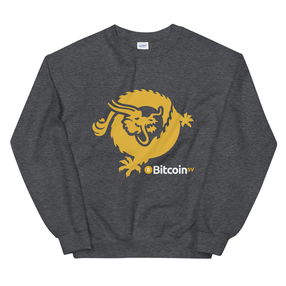 Bitcoin SV Dragon Sweatshirt Dark Heather S - zeroconfs