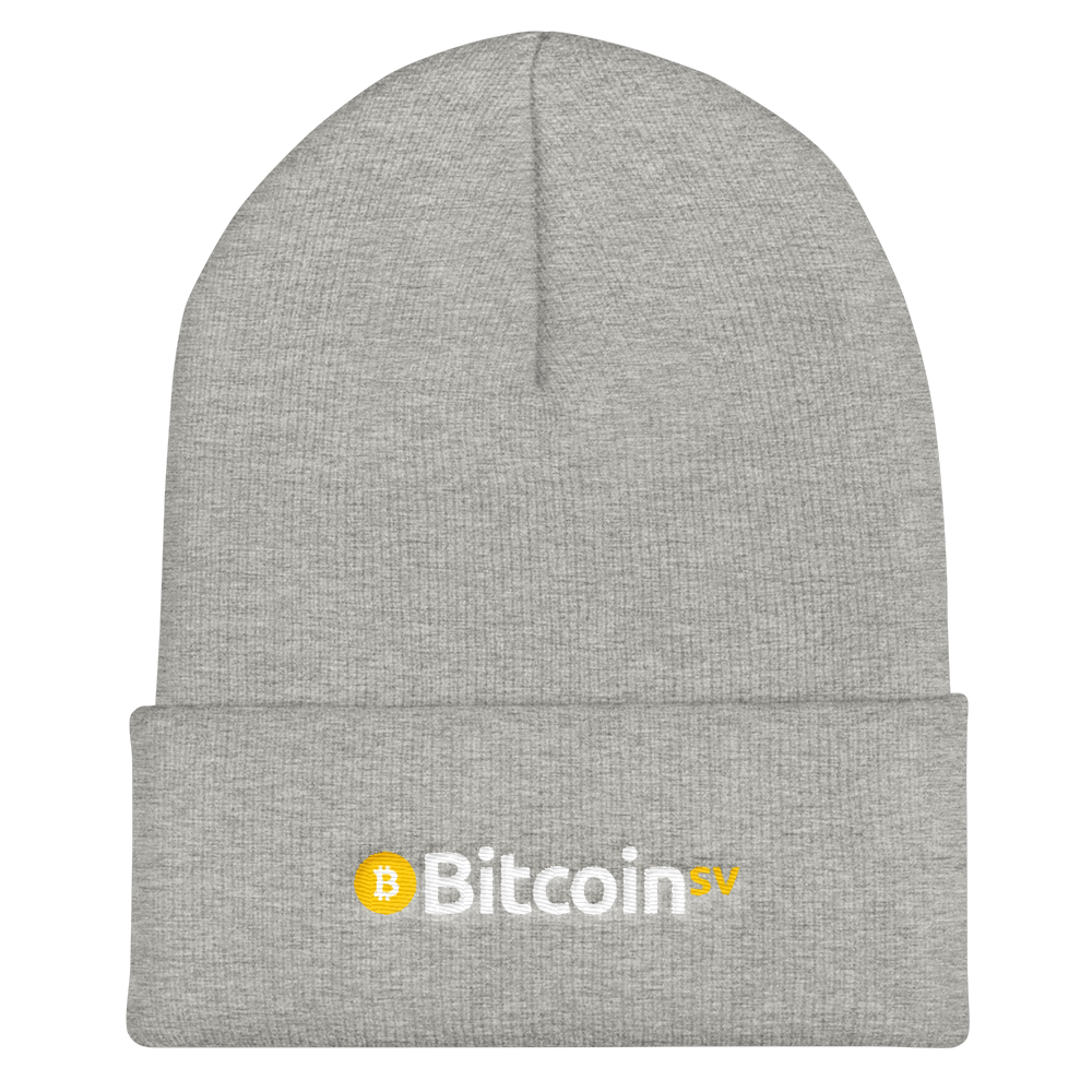 Bitcoin SV Cuffed Beanie Heather Grey  - zeroconfs