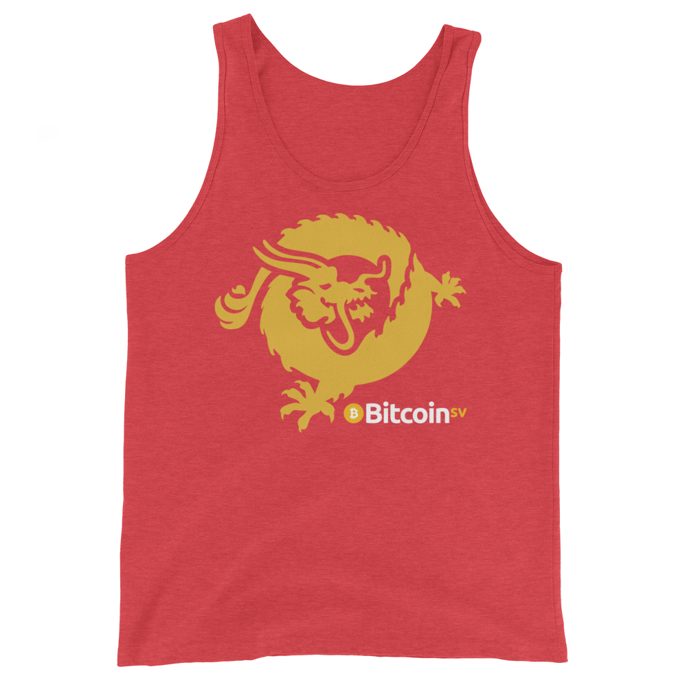 Bitcoin SV Dragon Tank Top Red Triblend XS - zeroconfs