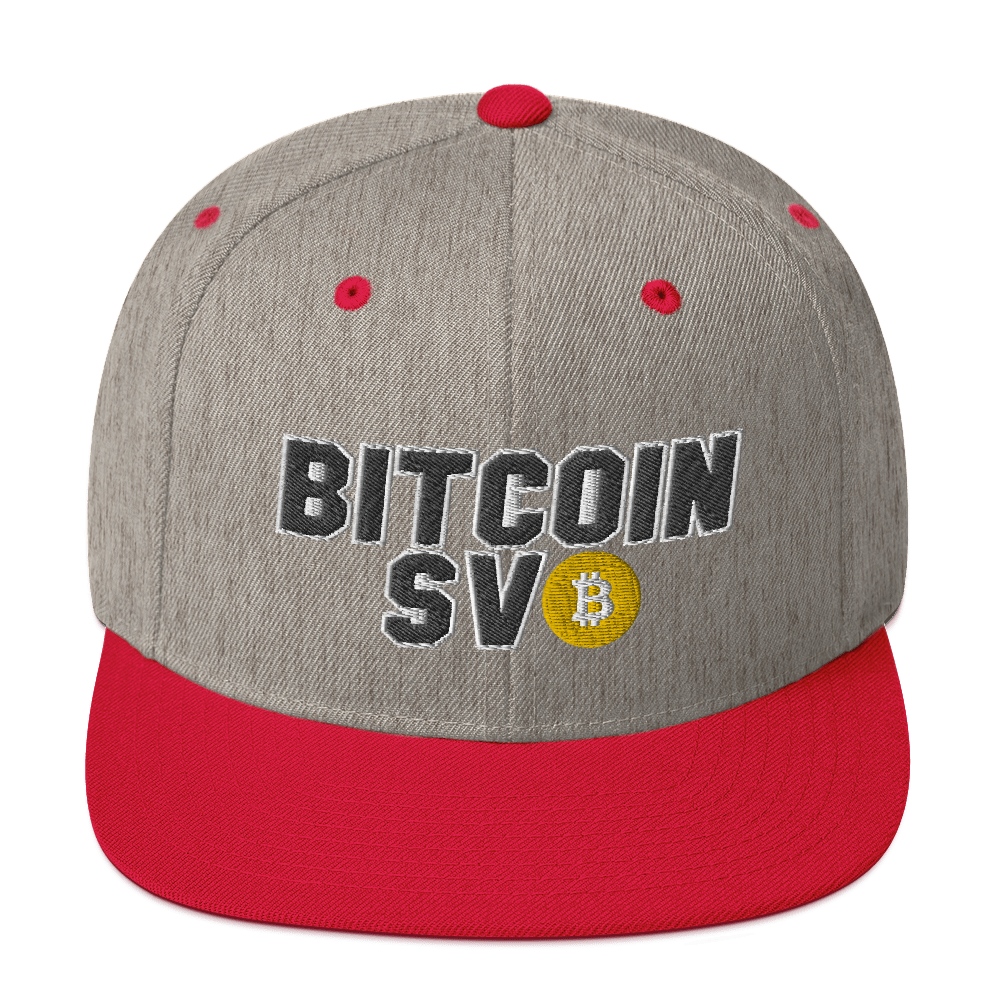 Bitcoin SV Sports Snapback Hat Heather Grey/ Red  - zeroconfs