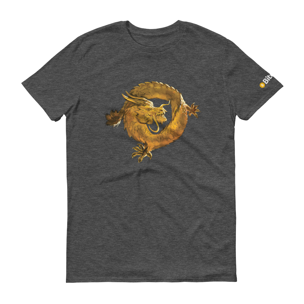 Bitcoin SV Woken Dragon Short-Sleeve T-Shirt Heather Dark Grey S - zeroconfs