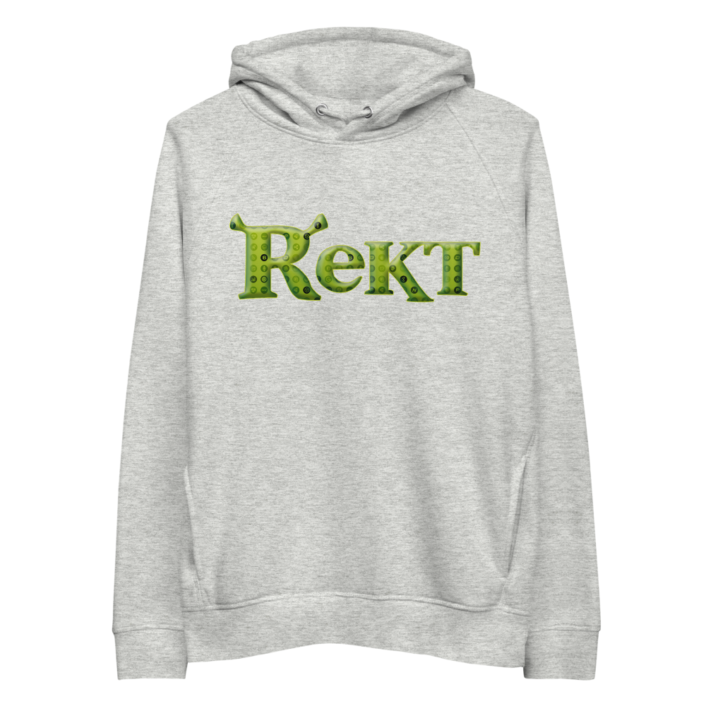 Rekt Crypto Premium Eco Hoodie Heather Grey S - zeroconfs