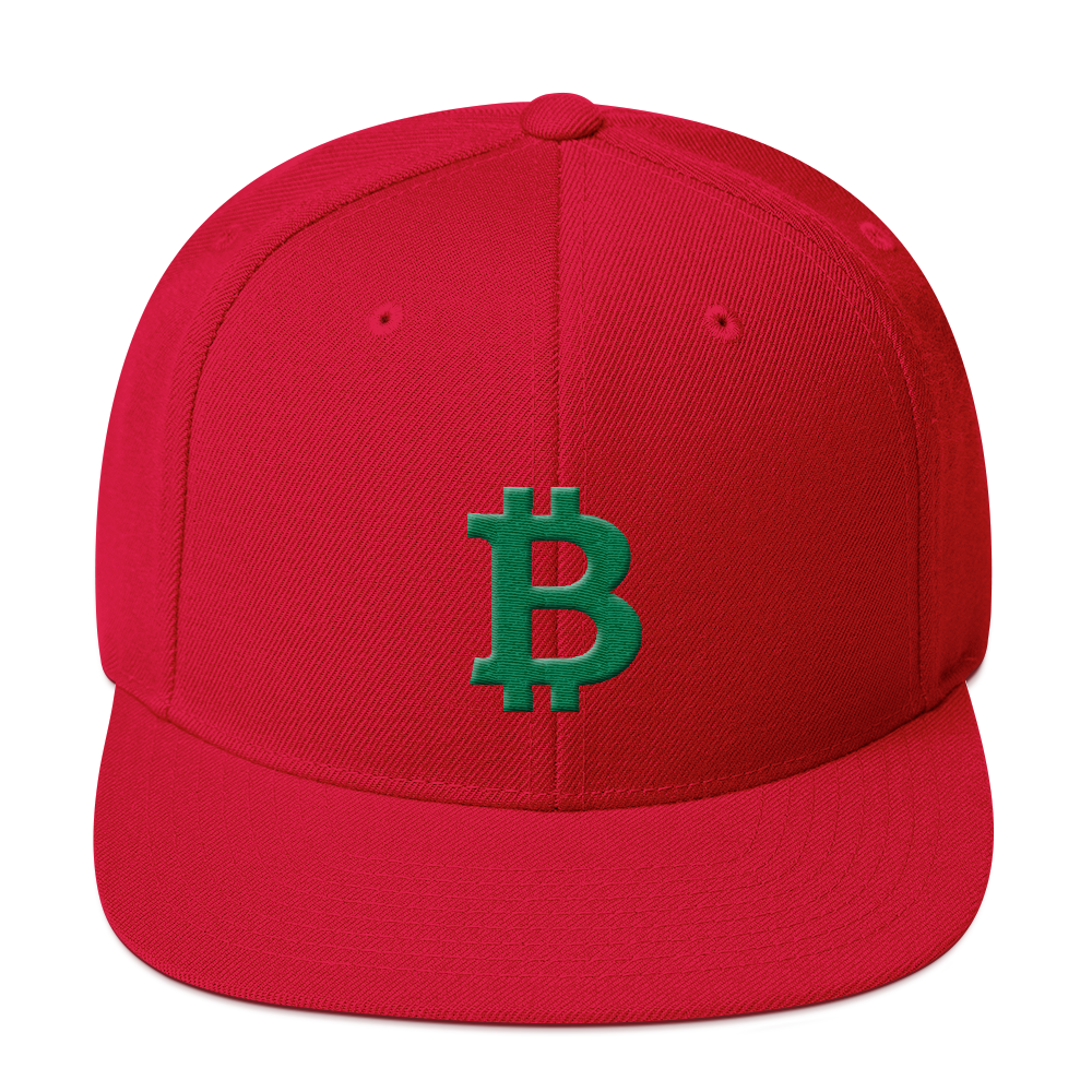 Bitcoin B Snapback Hat Green Red  - zeroconfs
