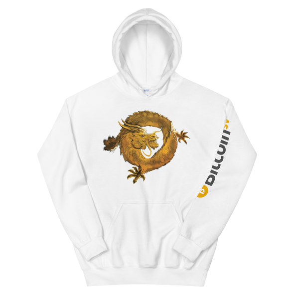Bitcoin SV Woken Dragon Hooded Sweatshirt Sleeve White S - zeroconfs