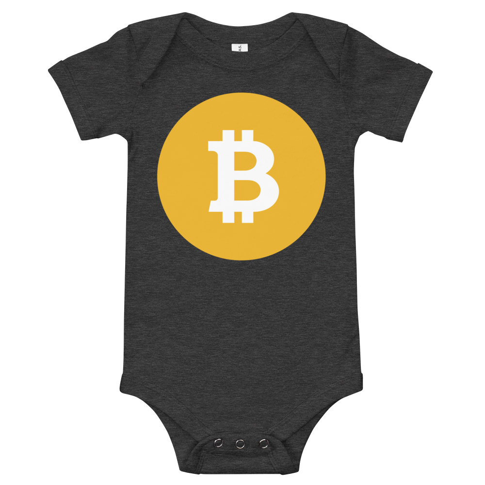 Bitcoin SV Logo Baby Bodysuit Dark Grey Heather 3-6m - zeroconfs