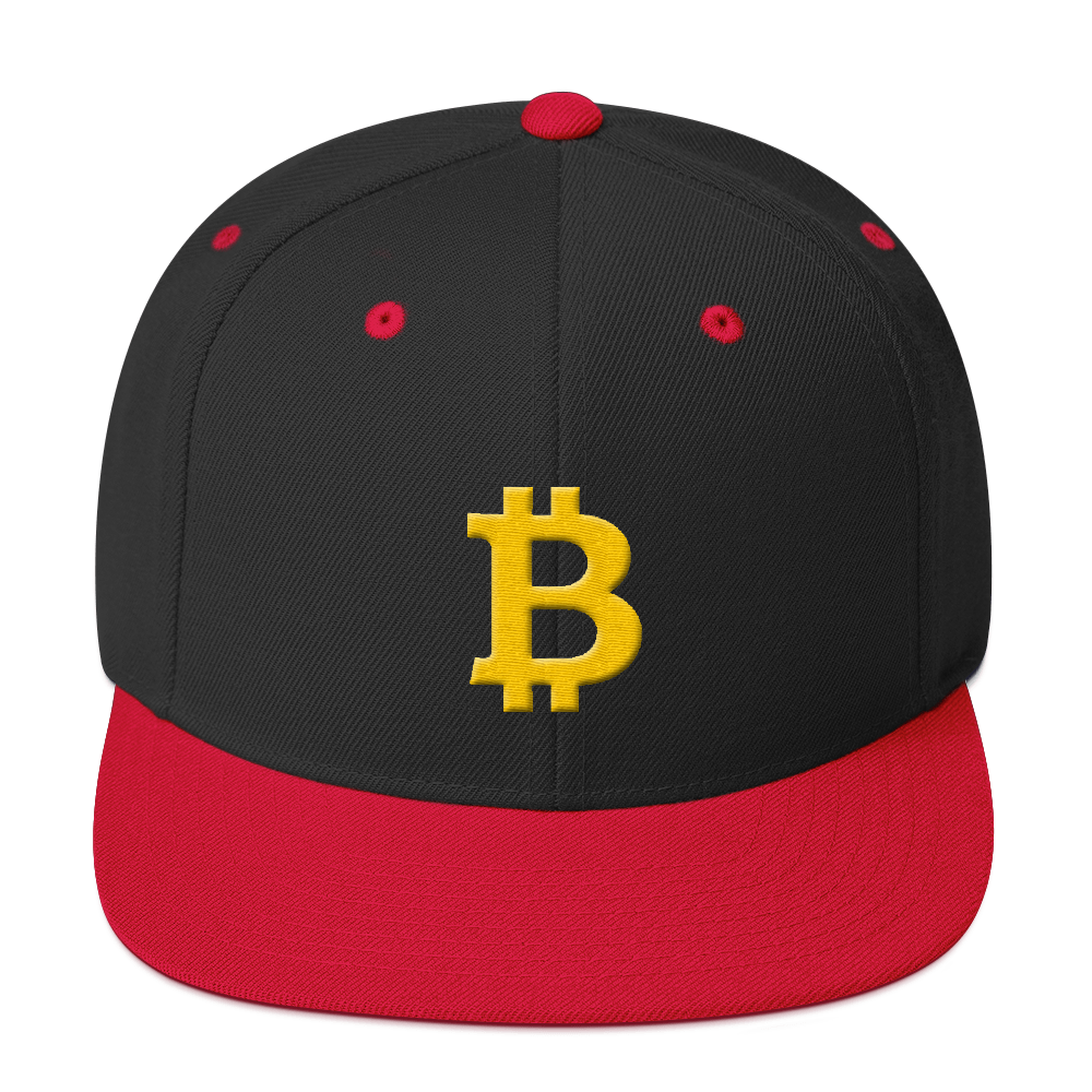 Bitcoin B Snapback Hat Black/ Red  - zeroconfs