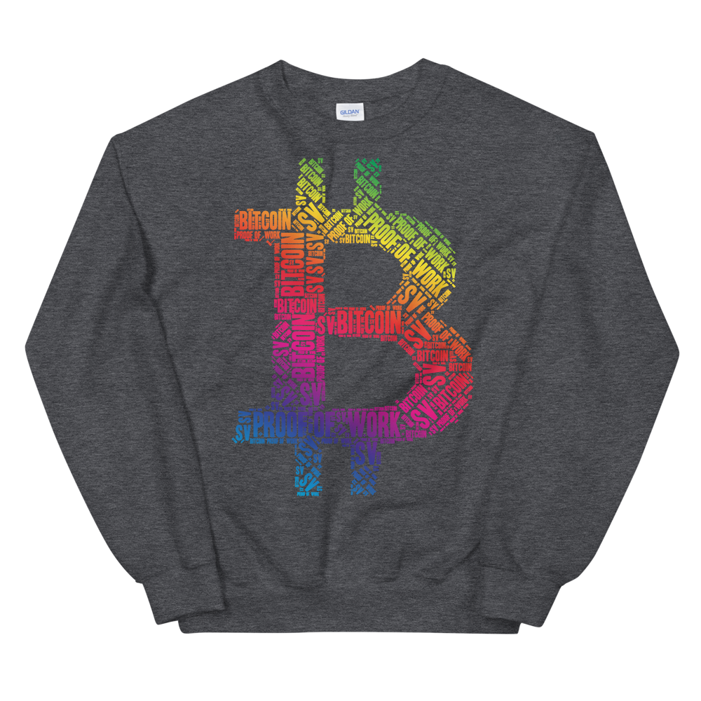 Bitcoin SV Proof Of Work Sweatshirt Dark Heather S - zeroconfs