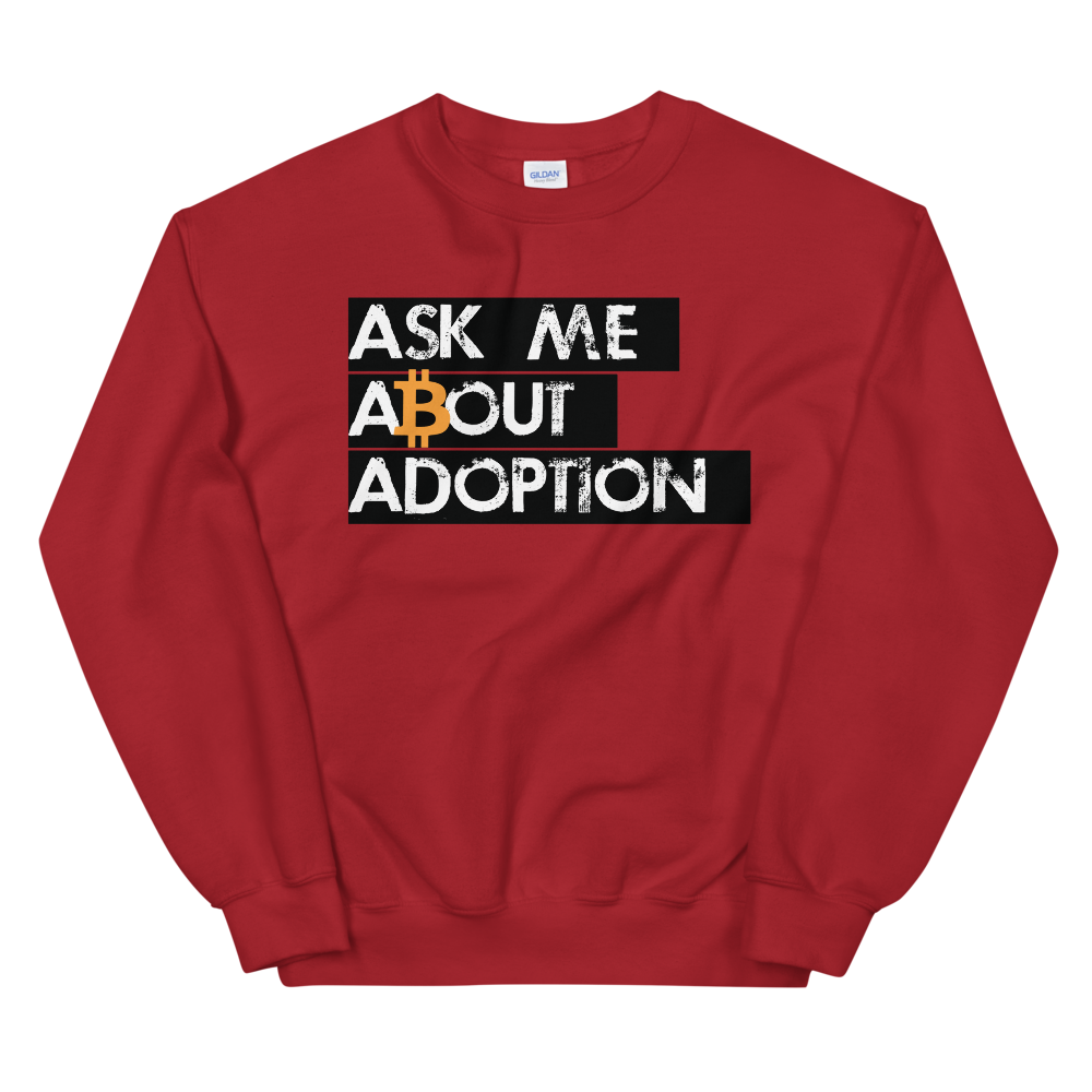 Ask Me About Adoption Bitcoin Sweatshirt Red S - zeroconfs