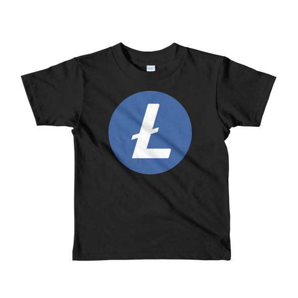 Litecoin Short Sleeve Kids T-Shirt Black 2yrs - zeroconfs
