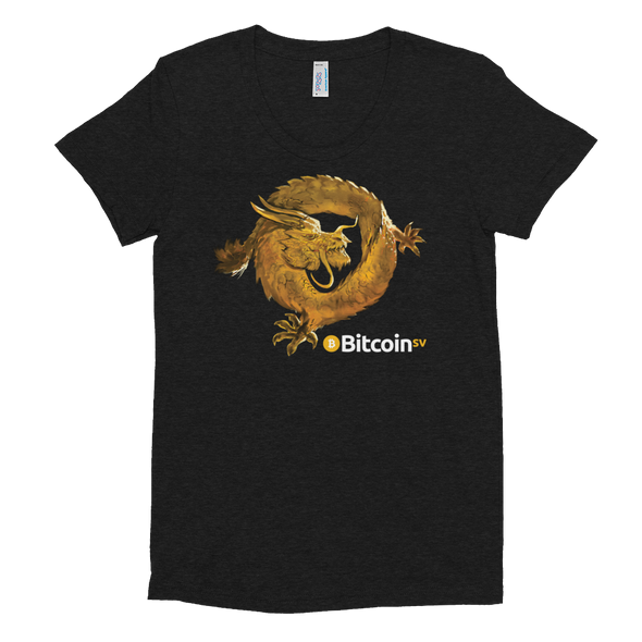 Bitcoin SV Woken Dragon Women's Crew Neck T-shirt Tri-Black S - zeroconfs