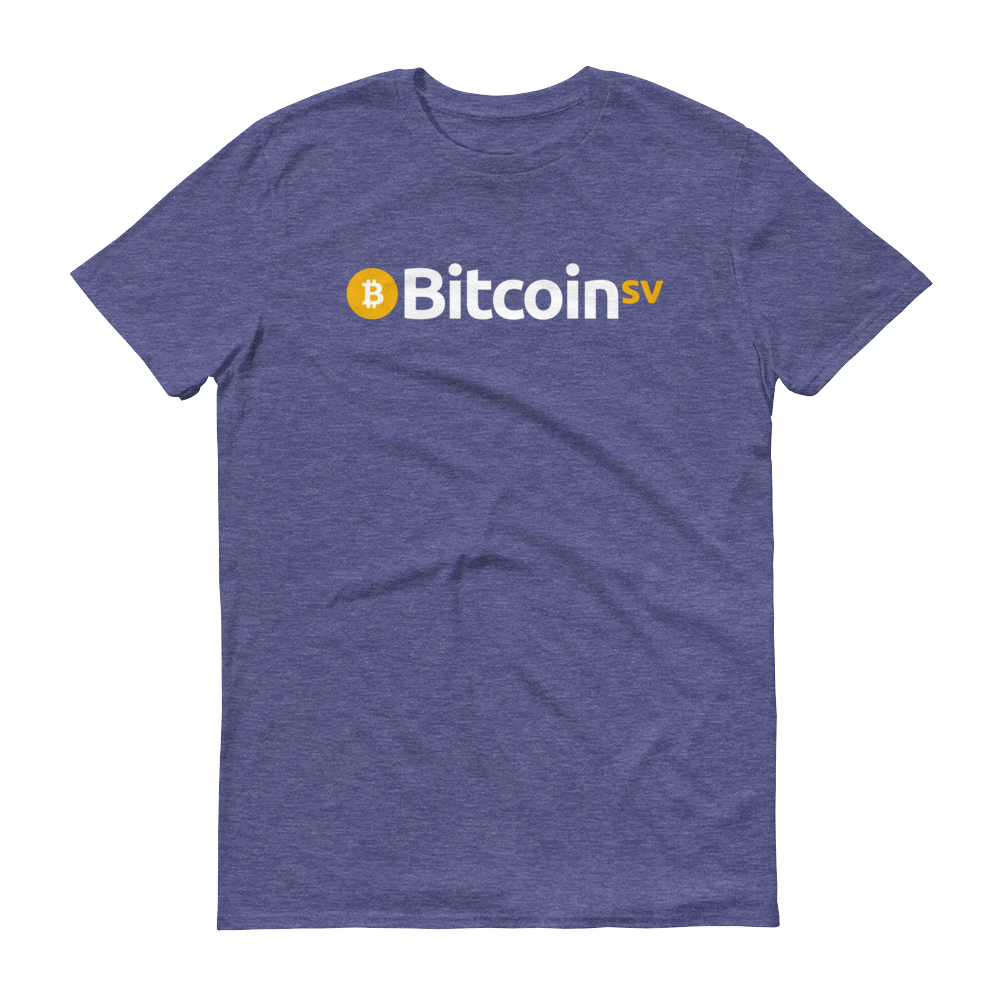 Bitcoin SV Short-Sleeve T-Shirt Heather Blue S - zeroconfs