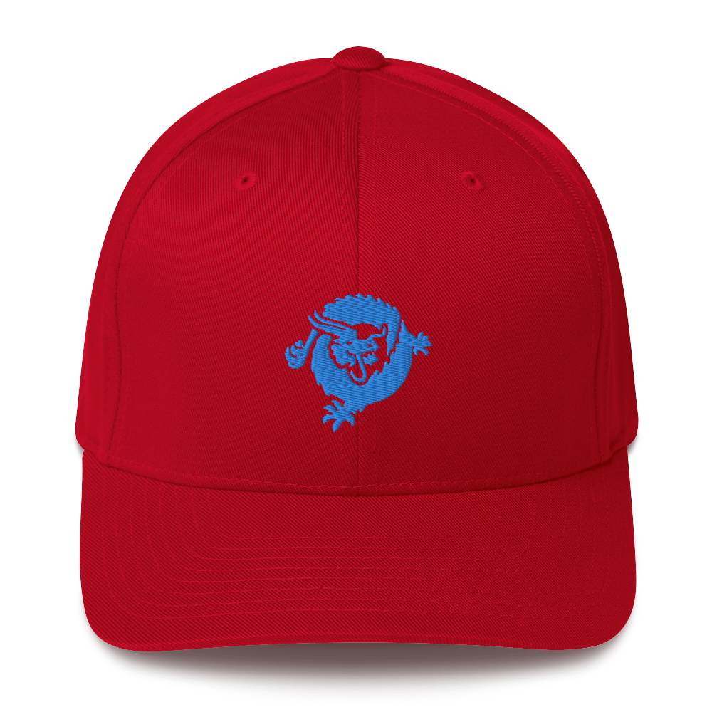 Bitcoin SV Dragon Flexfit Cap Blue Red S/M - zeroconfs