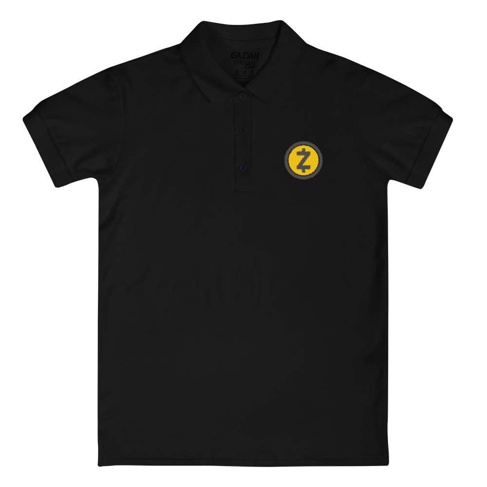 Zcash Embroidered Women's Polo Shirt Black S - zeroconfs