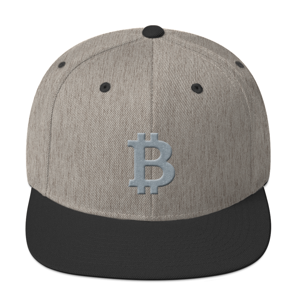 Bitcoin B Snapback Hat Gray Heather/Black  - zeroconfs