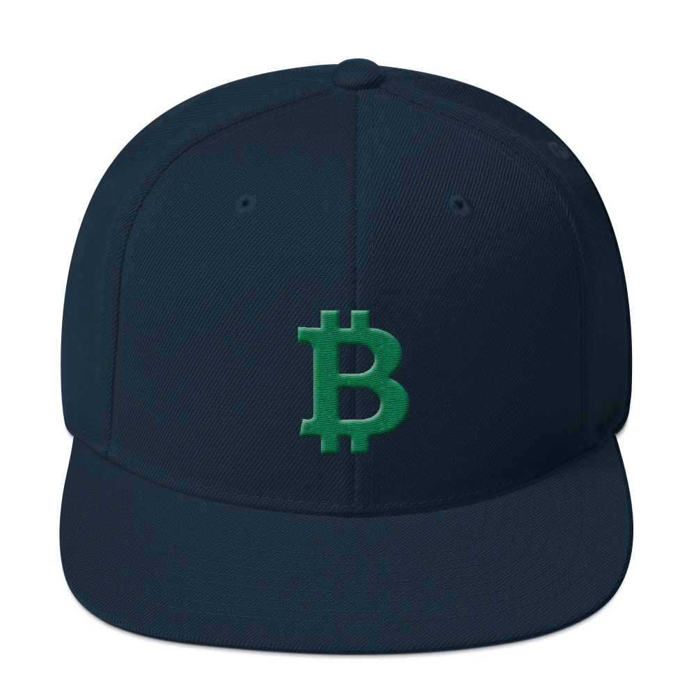 Bitcoin B Snapback Hat Green Dark Navy  - zeroconfs