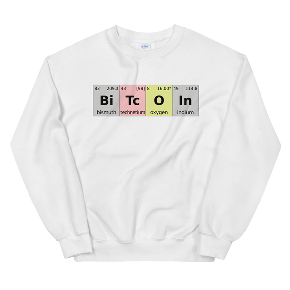 Bitcoin Periodic Table Sweatshirt White S - zeroconfs