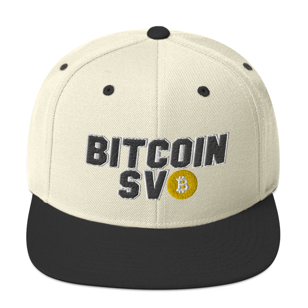 Bitcoin SV Sports Snapback Hat Natural/ Black  - zeroconfs