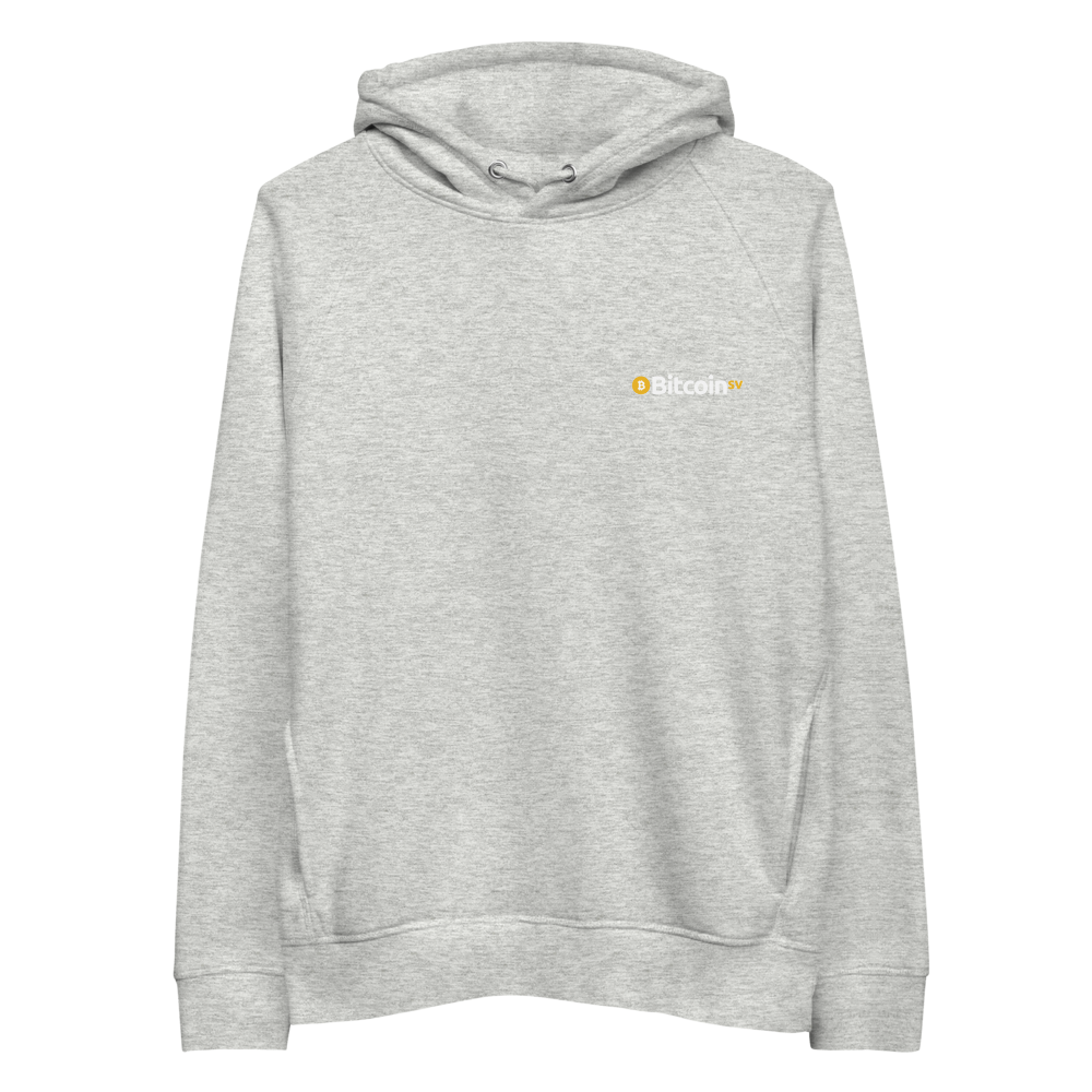 Bitcoin SV Woken Dragon Premium Eco Hoodie Back Heather Grey S - zeroconfs