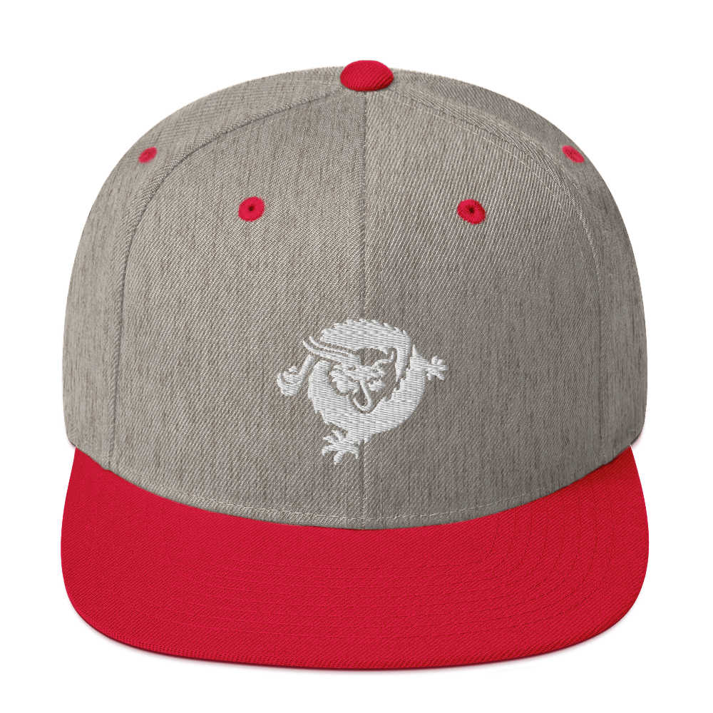 Bitcoin SV Dragon Snapback Hat White Heather Grey/ Red  - zeroconfs