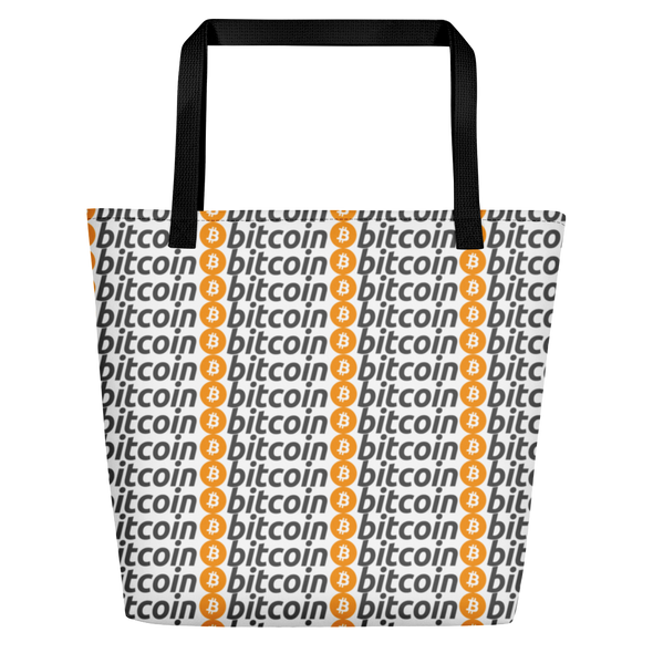 Bitcoin Pattern Beach Bag Black  - zeroconfs